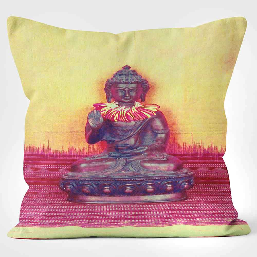 ARTWORLD CUSHIONS 'Buddah' Yellow & Pink Ella Lancaster Print Cushion Medium | Large
