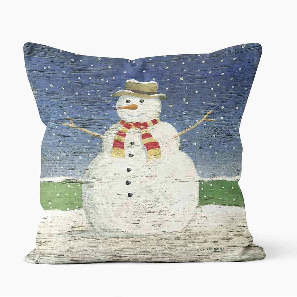ARTWORLD CUSHIONS 'Christmas Snowman' by Martin Wiscombe Print Cushion -Medium | Large