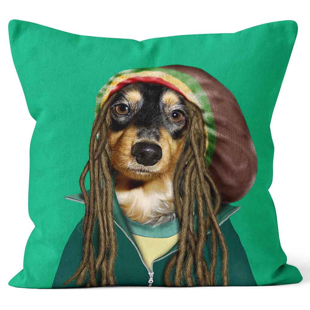 ARTWORLD PHOTO CUSHIONS 'Reggae' Dog Doggy Pets Rock Photo Cushion - Large | Medium