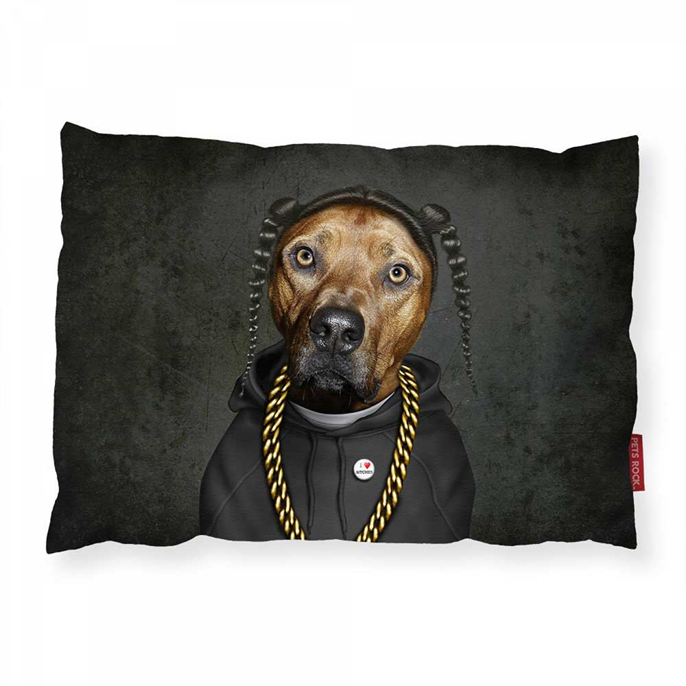 ARTWORLD PET BEDS 'Rap Dog' Luxury Dog Bed Photo Cushion - Large | Medium