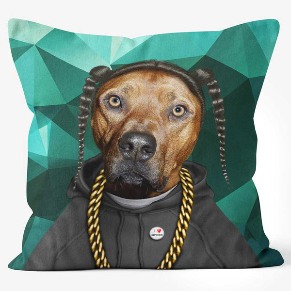 ARTWORLD PHOTO CUSHIONS 'Rap Dog' Funky Photo Cushion - Large | Medium