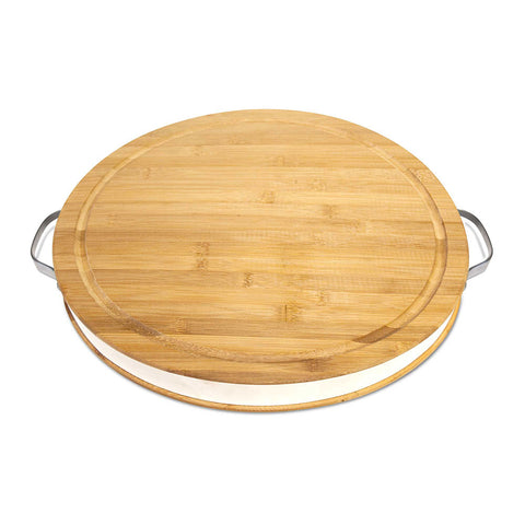 "Flint and Flame Large 16"" Round Bamboo Wood Chopping Board"