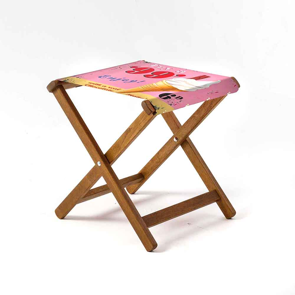 ARTWORLD STOOLS 99 Flake by Martin Wiscombe Hardwood Folding Stool - 10 Day Delivery