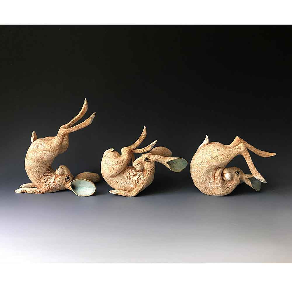 GIN DURHAM Rolling Hares Stoneware Sculpture - S | M | L | Ex L (Made to Order)