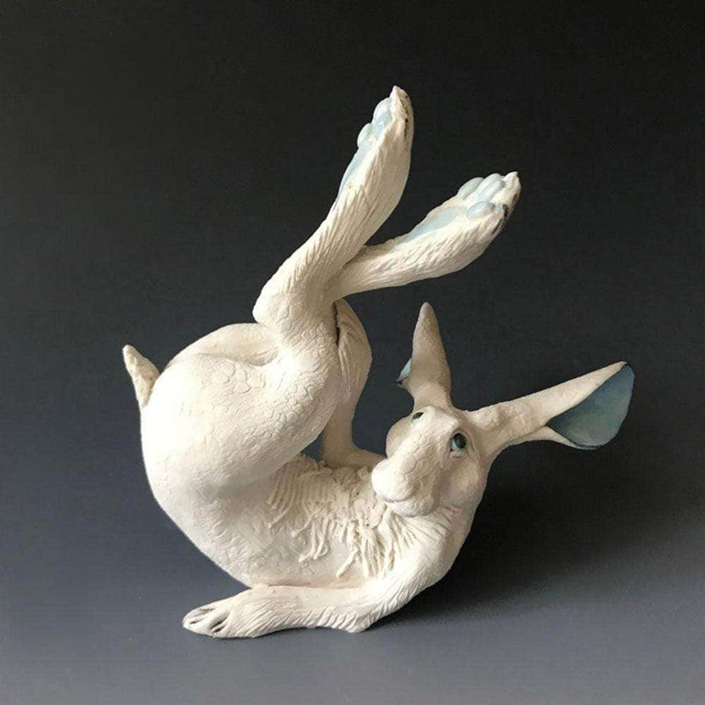 GIN DURHAM ANIMAL CERAMICS White Porcelain Rolling Hare Sculpture - Small | Medium | Large | Extra Large