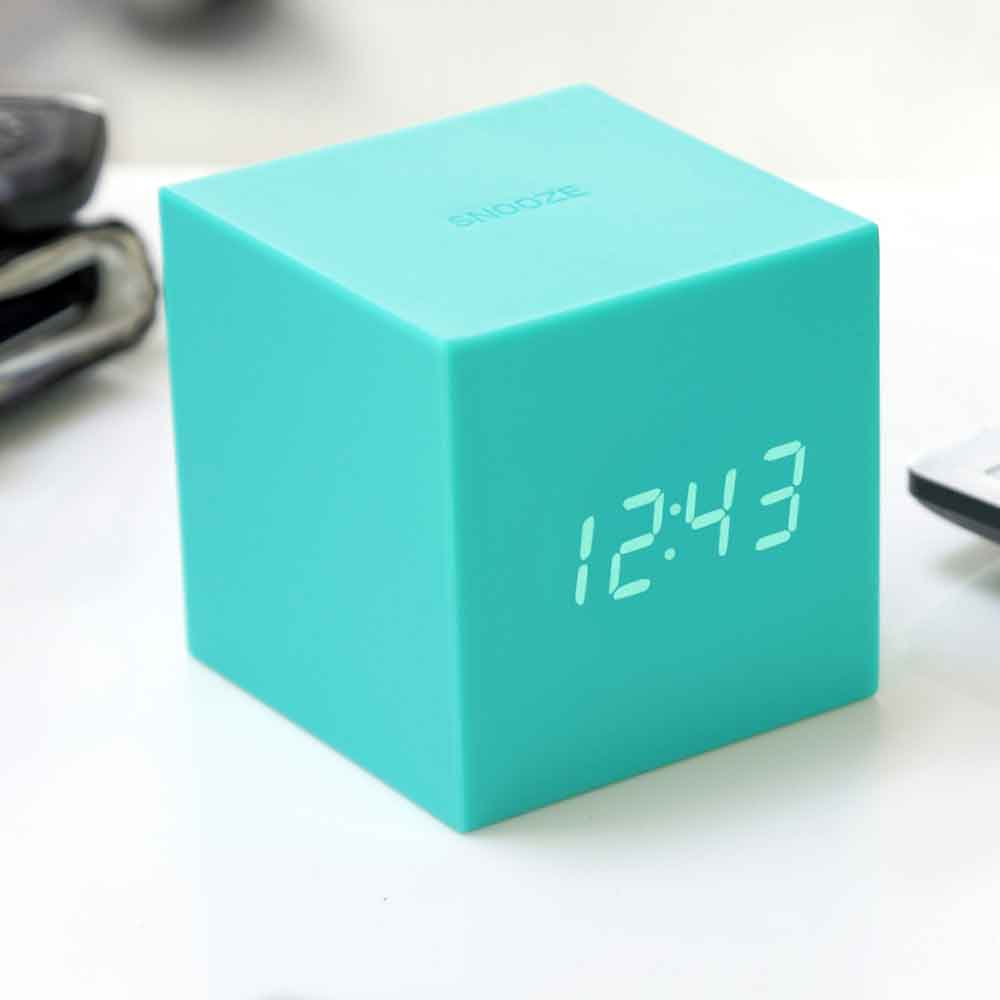 GINGKO Gravity Cube Click Clock - Grey | Red | Black | Purple | Green | Orange | Pink | Blue | Teal