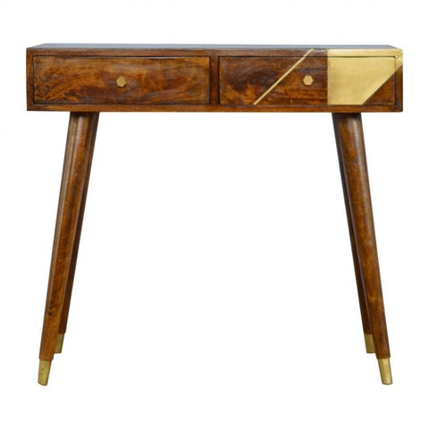ARTISAN Mango Wood Geometric Design Console Table with Gold Detail - unusualdesignergifts.co.uk