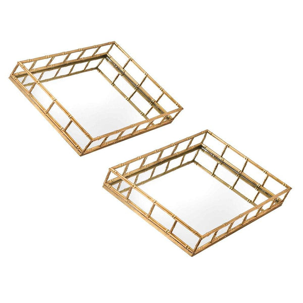HILLIER HOME Rectangular Gold Mirrored Bamboo Effect Drinks Trays - Set Of Two (x2)