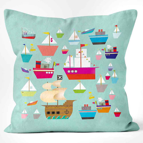 Cushions Are Us green cushion with boats
