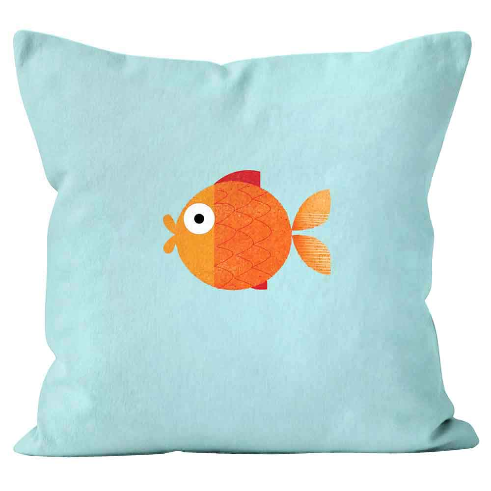 ARTWORLD CUSHIONS 'Goldfish' Kali Stileman Blue Print Cushion - Large | Medium
