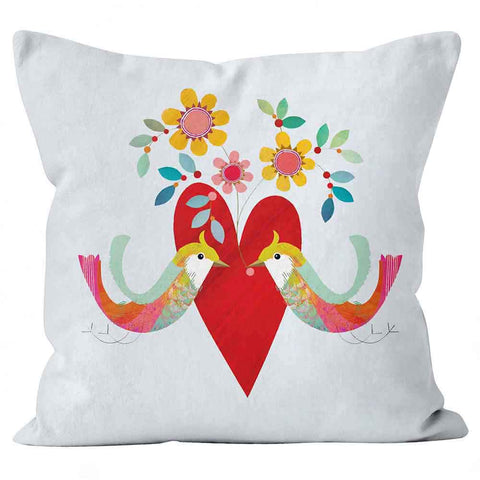 Cushions Are Us two little birds red heart cushion pillow