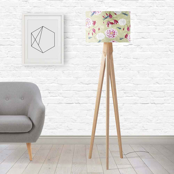 ARTWORLD LAMPSHADES 'Magnolia Roses' Lime Green Round Lampshade by House of Turnowsky