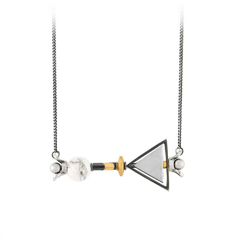 MAY HOFMAN JEWELLERY XY Triangle Silver Pendant Necklace