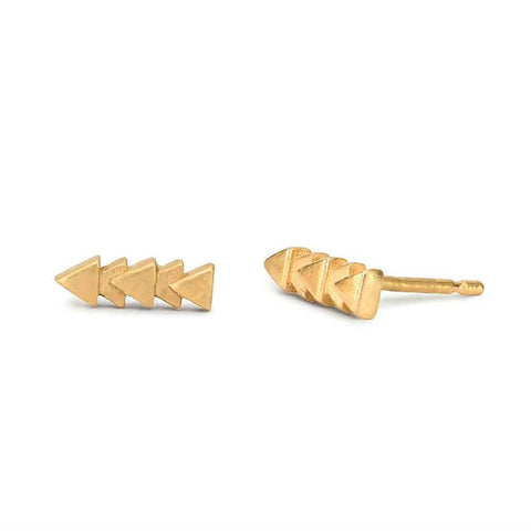 MAY HOFMAN JEWELLERY Tri Line Triangular Gold Plated Stud Earrings