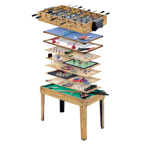 MIGHTYMAST Multiplay 34-in-1 Multi Games Oak Wood Table - unusualdesignergifts.co.uk