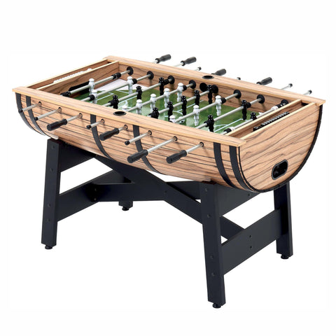 MIGHTYMAST Barrel Full Size Oak Wood Effect Football Games Table - unusualdesignergifts.co.uk