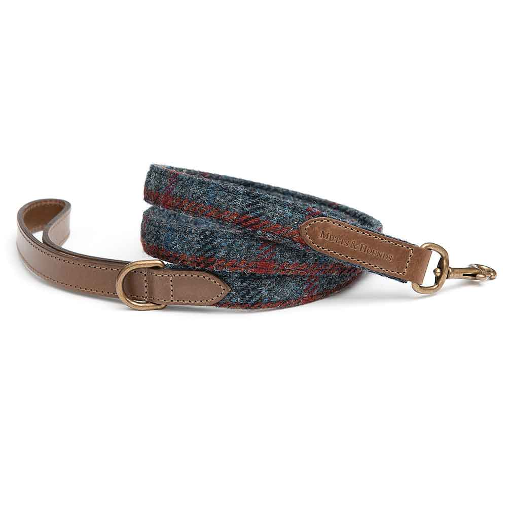 MUTTS & HOUNDS Tytherton Navy Blue Check Tweed and Leather Dog Lead
