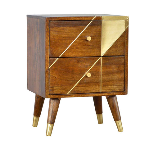 Nordic Style Two Drawer Bedside Cabinet with Gold Geometric Detail