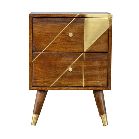 ARTISAN Mango Wood Geometric Design Side Table with Gold Detail - unusualdesignergifts.co.uk