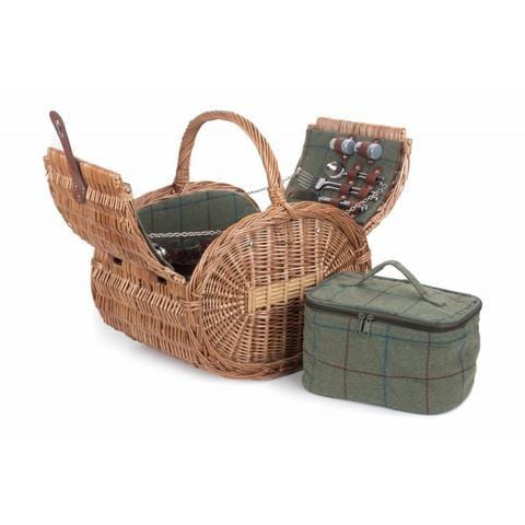 The Fairacre Oval Four Person Fully Fitted Green Tweed Picnic Basket Hamper open