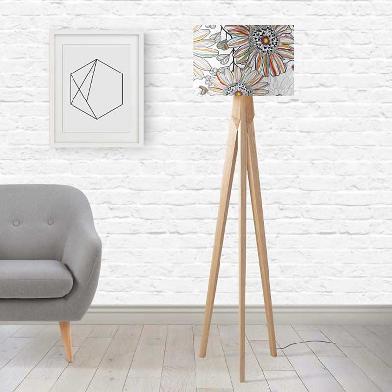ARTWORLD LAMPSHADES 'Passion Flower' Round White Lampshade by House of Turnowsky