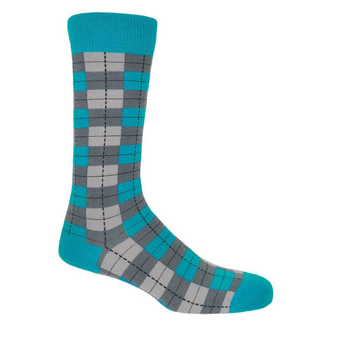 PEPER HAROW Checkmate Men's Luxury Cotton Socks - Grey Blue