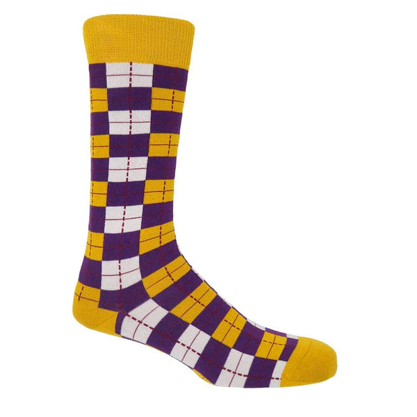 PEPER HAROW Checkmate Men's Luxury Cotton Socks - Gold and Purple