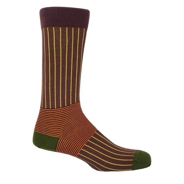 PEPER HAROW Oxford Pinstripe Men's Luxury Cotton Socks - Brown and Yellow