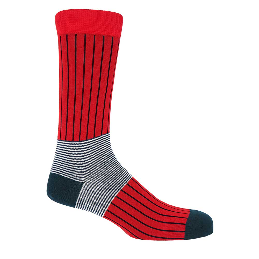 PEPER HAROW Oxford Pinstripe Men's Luxury Cotton Socks - Red and Black