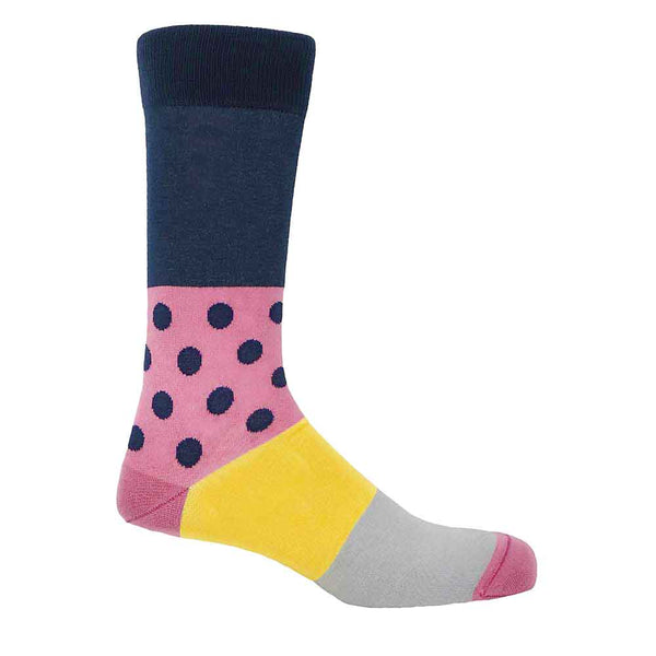 PEPER HAROW Mayfair Men's Luxury Cotton Socks - Navy and Pink