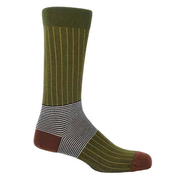 PEPER HAROW Oxford Pinstripe Men's Luxury Cotton Socks - Green and Brown