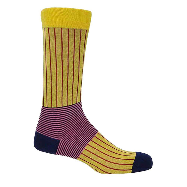 PEPER HAROW Oxford Pinstripe Men's Luxury Cotton Socks - Yellow and Pink