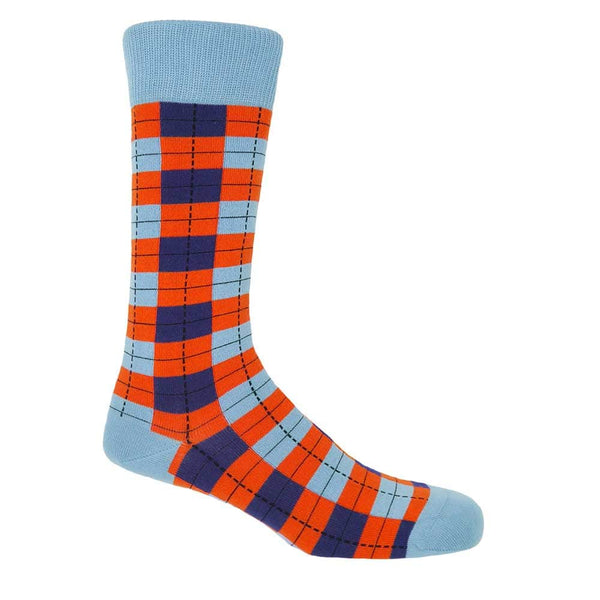 PEPER HAROW Checkmate Men's Luxury Cotton Socks - Sky Blue and Orange