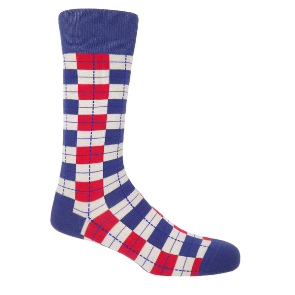 PEPER HAROW Checkmate Men's Luxury Cotton Socks - Taupe Red and Blue