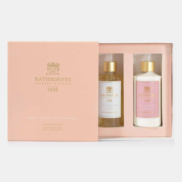 RATHBORNES Luxury Gift Set Hand & Body Wash and Lotion Dublin Tea Rose, Oud and Patchouli