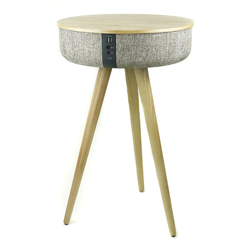 Steepletone Tabblue Round Table Speaker with Surround Sound and Phone Charging Station - Light Wood and Sandstone Fabric - Rear View