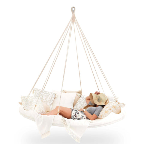 Tiipii Deluxe 'Poolside' Large Teepee Hanging Hammock Floating Day Bed in Brilliant White