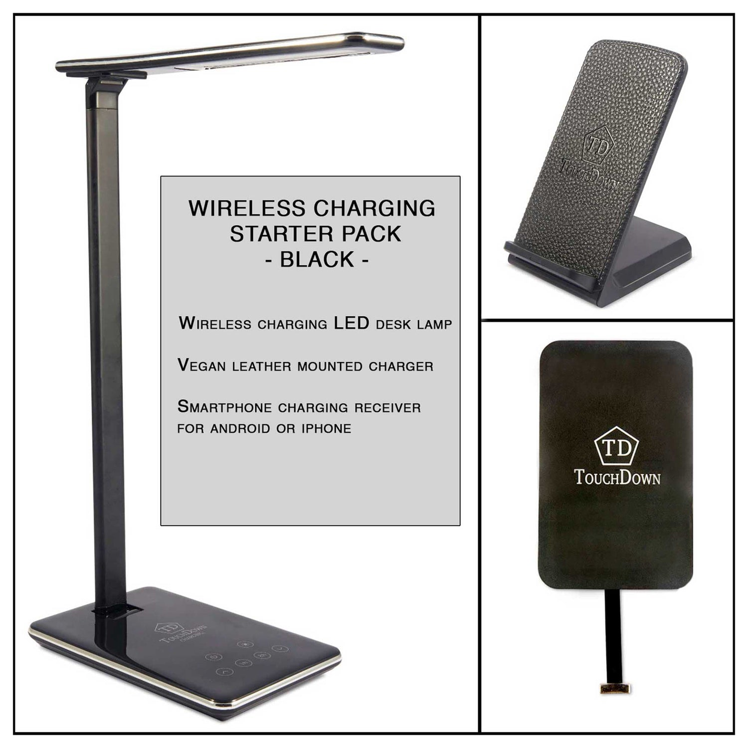 TOUCHDOWN Starter Pack Wireless Charging Bundle | Desk Lamp | Mounted Charger | iPhone Receiver - Black | White