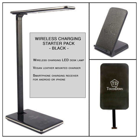 TOUCHDOWN Starter Pack Wireless Charging Bundle | x1 Desk Lamp | x1 Mounted Charger | x1 iPhone Receiver in Black or White - unusualdesignergifts.co.uk