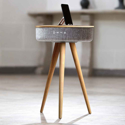 TOUCHDOWN Wireless Charging Table with Surround Sound Speakers in Black | White | Walnut | Ash - unusualdesignergifts.co.uk