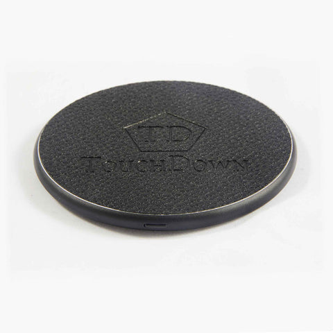 TOUCHDOWN CHARGING Black Round Business Edition Smartphone Wireless Charging Pad - unusualdesignergifts.co.uk