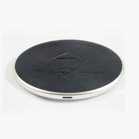 TOUCHDOWN CHARGING Silver Round Business Edition Smartphone Wireless Charging Pad - unusualdesignergifts.co.uk
