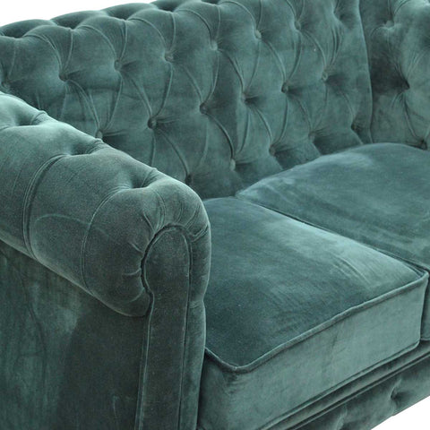 ARTISAN Emerald Green Velvet Two Seater Chesterfield Sofa with Mango Wood Legs - unusualdesignergifts.co.uk