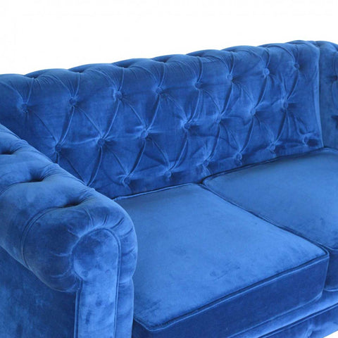 ARTISAN Royal Blue Velvet Two Seater Chesterfield Sofa with Mango Wood Legs - unusualdesignergifts.co.uk