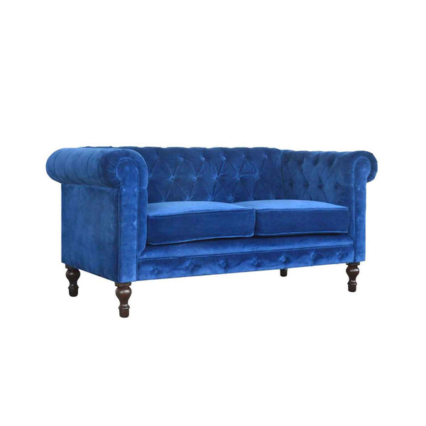 ARTISAN Royal Blue Velvet Two Seater Chesterfield Sofa with Mango Wood Legs