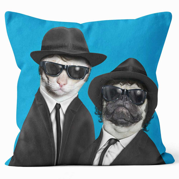 ARTWORLD PHOTO CUSHIONS 'Brothers' Cat and Dog Photo Cushion - Large | Medium
