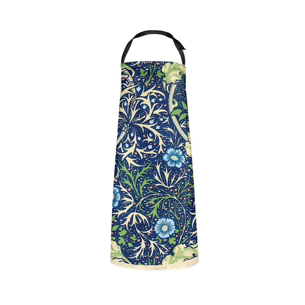 ARTWORLD APRONS 'Seaweed' Green and Blue Kitchen Apron by William Morris
