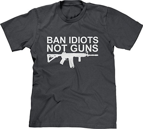 Blittzen Mens T-shirt Ban Idiots Not Guns
