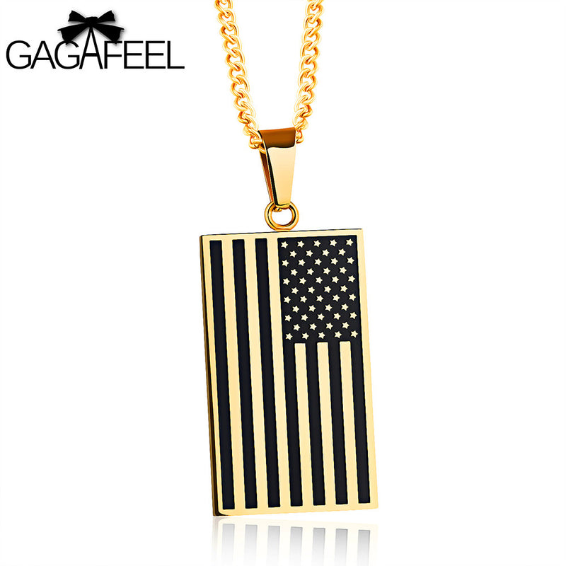 GAGAFEEL Men Necklace American Flag Pendant