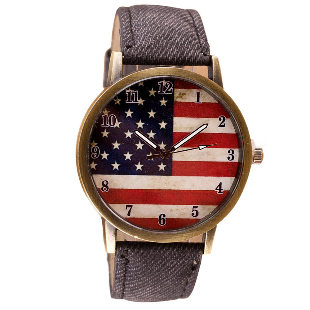 American Flag pattern Leather Band Analog Quartz Vogue Wrist Watch
